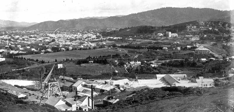 View from Union Hill overlooking the Waihi Battery, and much of the ground now traversed by Mill Stream Walkway