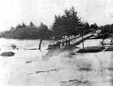 1898 Flood at first Criterion Bridge, Paeroa