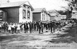 Morning assembly at the Waihi District High School, c 1900.